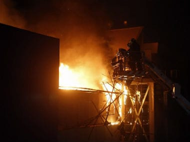 File image of the blaze at a pub in Mumbai's Kamala Mill Compound. PTI