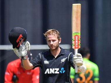 Kane Williamson celebrates scoring his career's 10th ODI century in the first ODI against New Zealand. Image courtesy: Twitter @ICC