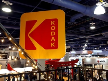 The Kodak logo is shown on a booth during the 2017 CES in Las Vegas. Reuters