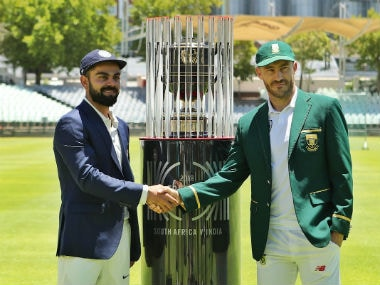 India captain Virat Kohli with his South Africa counterpart Faf du Plessis pose with the winner's trophy. Image credit: Twitter/@BCCI