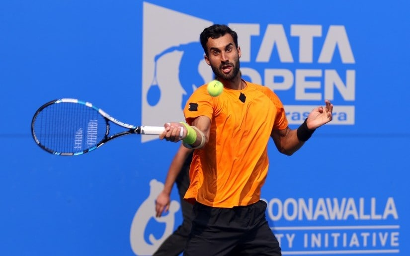 Yuki Bhambri plays a shot in his second round match against Pierre-Hugues Herbert at the Maharashtra Open. Firstpost