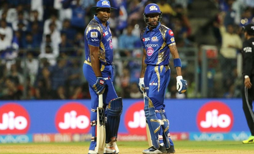 Kieron Pollard of the Mumbai Indians and Hardik Pandya of the Mumbai Indians during match 51 of the Vivo 2017 Indian Premier League between the Mumbai Indians and the Kings XI Punjab held at the Wankhede Stadium in Mumbai, India on the 11th May 2017 Photo by Vipin Pawar - Sportzpics - IPL