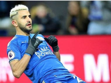 Leicester City star Riyad Mahrez celebrates after scoring a wonder goal against Huddersfield Town. Twitter: @Mahrez22