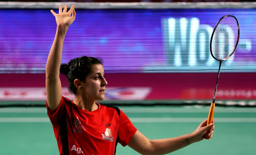 Carolina Marin celebrates her win over Sung Ji Hyun.
