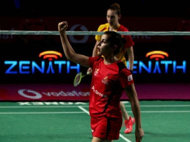 Carolina Marin celebrates a point during her PBL match. Image Courtesy: Twitter @PBLIndiaLive