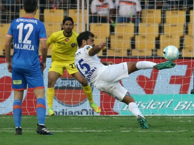 Mumbai City's Balwant Singh goes for a shot against FC Goa in their Indian Super League match. ISL