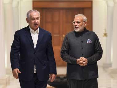 Prime Minister Narendra Modi with Israel prime minister Benjamin Netanyahu in New Delhi. Twitter@