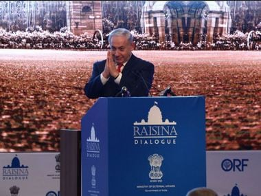 Benjamin Netanyahu at the raisina Dialogue 2018. Twitter/ @orfonline