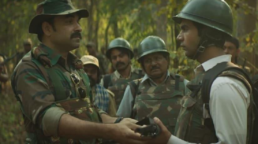 Pankaj Tripathi and Rajkummar Rao in a still from Newton. Image from Twitter/@kaalicharan