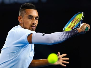 Australia's Nick Kyrgios hits a shot during his final at the Brisbane International. Reuters