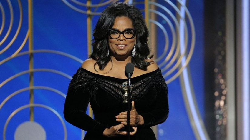 Oprah Winfrey during her Golden Globe Awards 2018 speech. Image from Twitter/@THR.