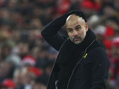 Manchester City's manager Pep Guardiola reacts during the match against Liverpool on Sunday. AP