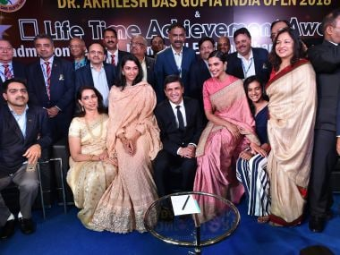 Prakash Padukone with his daughter Deepika Padukone, shuttler PV Sindhu and other family members at a function in New Delhi. PTI