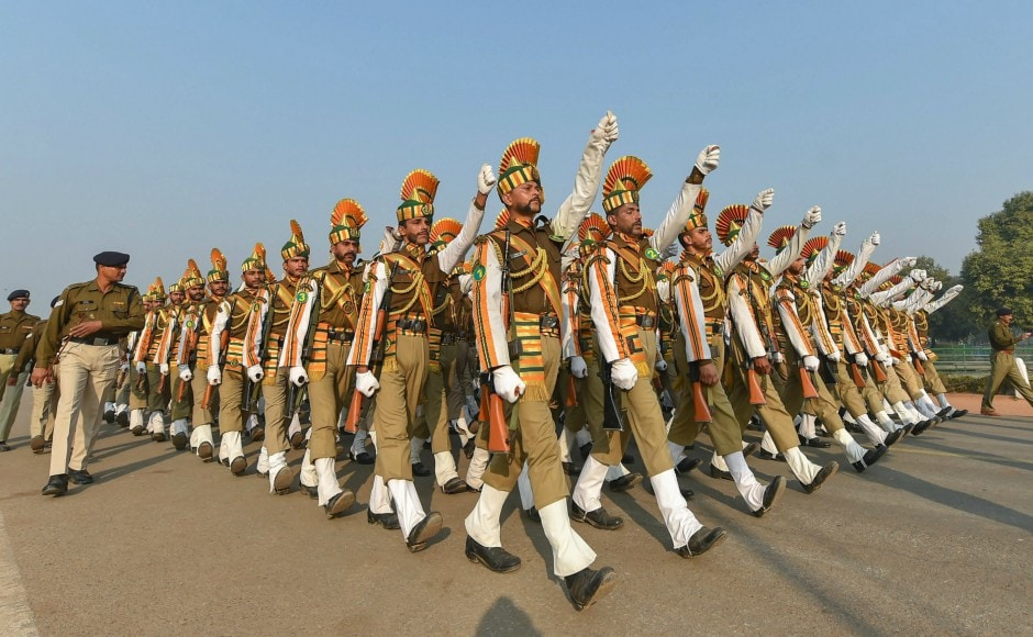 ITBP soldiers march during rehearsals ahead of the Republic Day parade in New Delhi on Monday. PTI