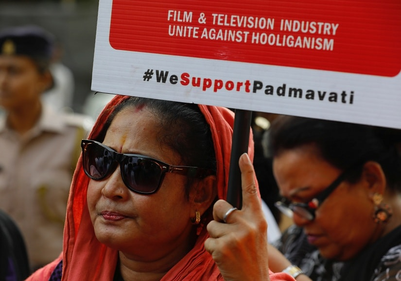 Members of various associations of Indian film and television industry protest to demand the release of upcoming Bollywood movie 'Padmavati' in Mumbai, India, November 26, 2017. REUTERS/Danish Siddiqui - RC1327870D40