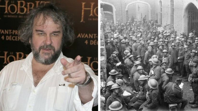 Director Peter Jackson (left; AP); Picture taken during World War 1 (Facebook/ Britain and Commonwealth archive)