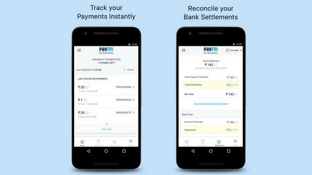 Paytm for Business allows registered merchants to make bank settlements. Image: Paytm Blog