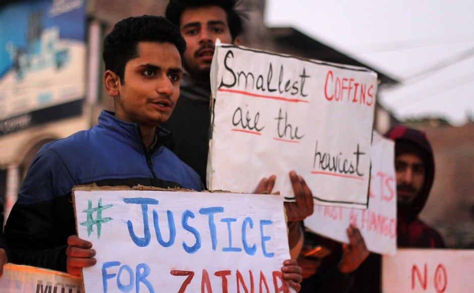 Students hold placards at Lal Chowk in Anantnag demanding justice for Zainab. Pakistan Police say that the rape and murder may have been committed by a serial killer, also a suspect in eight other similar cases in the city. Eight of the nine girls were murdered and raped while the lone surviving rape victim is still in hospital, Pakistani media reports said. Firstpost/ Sameer Mushtaq