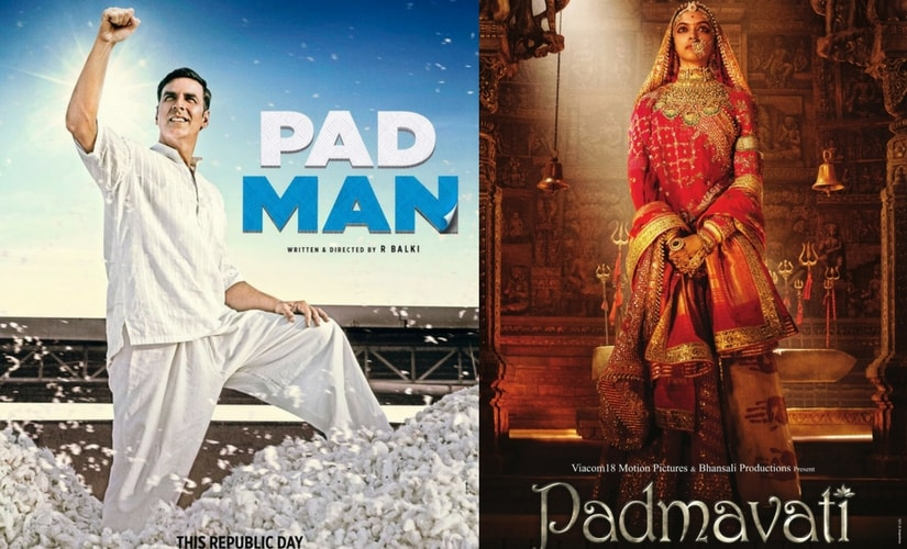 Poster for Akshay Kumar's Pad Man and Deepika Padukone's Padmavati/Images from Twitter.