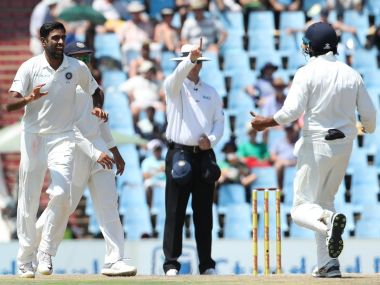 Ashwin took 3 wickets on Day one of the 2nd Test against South Africa. Image courtesy: Twitter @BCCI