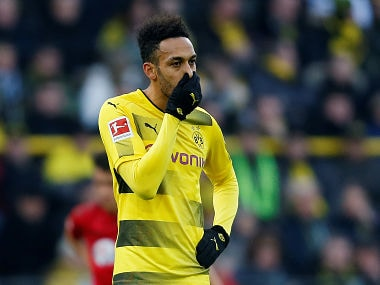 Soccer Football - Bundesliga - Borussia Dortmund vs SC Freiburg - Signal Iduna Park, Dortmund, Germany - January 27, 2018 Borussia Dortmund's Pierre-Emerick Aubameyang REUTERS/Leon Kuegeler DFL RULES TO LIMIT THE ONLINE USAGE DURING MATCH TIME TO 15 PICTURES PER GAME. IMAGE SEQUENCES TO SIMULATE VIDEO IS NOT ALLOWED AT ANY TIME. FOR FURTHER QUERIES PLEASE CONTACT DFL DIRECTLY AT + 49 69 650050 - RC1E82B26370