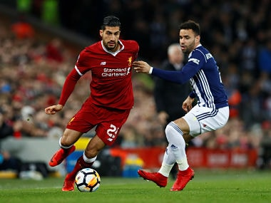 Soccer Football - FA Cup Fourth Round - Liverpool vs West Bromwich Albion - Anfield, Liverpool, Britain - January 27, 2018 Liverpool's Emre Can in action with West Bromwich Albion's Hal Robson-Kanu Action Images via Reuters/Jason Cairnduff - RC1BAB63FFB0
