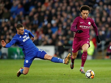 Soccer Football - FA Cup Fourth Round - Cardiff City vs Manchester City - Cardiff City Stadium, Cardiff, Britain - January 28, 2018 Manchester City's Leroy Sane is fouled by Cardiff City's Joe Bennett Action Images via Reuters/Andrew Boyers - RC126D289410