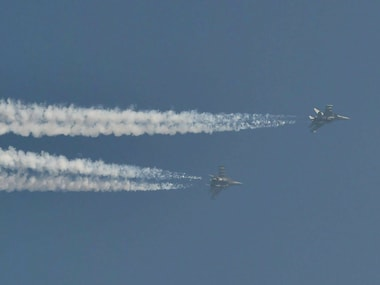 IAF's fighter planes fly past during a rehearsal for the Republic Day parade, in New Delhi on Thursday. PTI