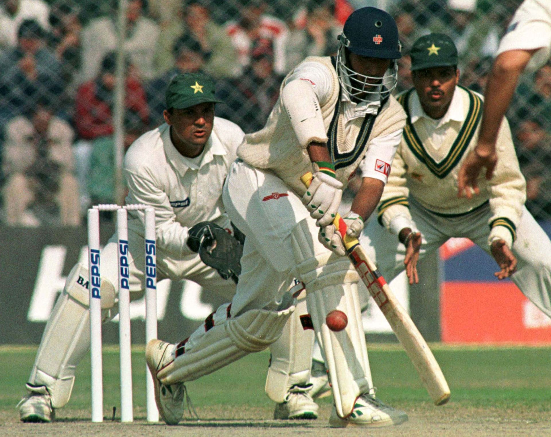 RAMESH TURNS A BALL OFF PAKISTANI'S SAQLAIN MUSHTAQ IN NEW DELHI.