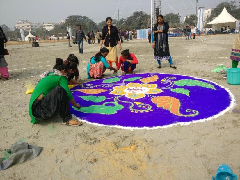 Female volunteers of the RSS at work on Saturday. Firstpost/Rishiraj Bhagawati