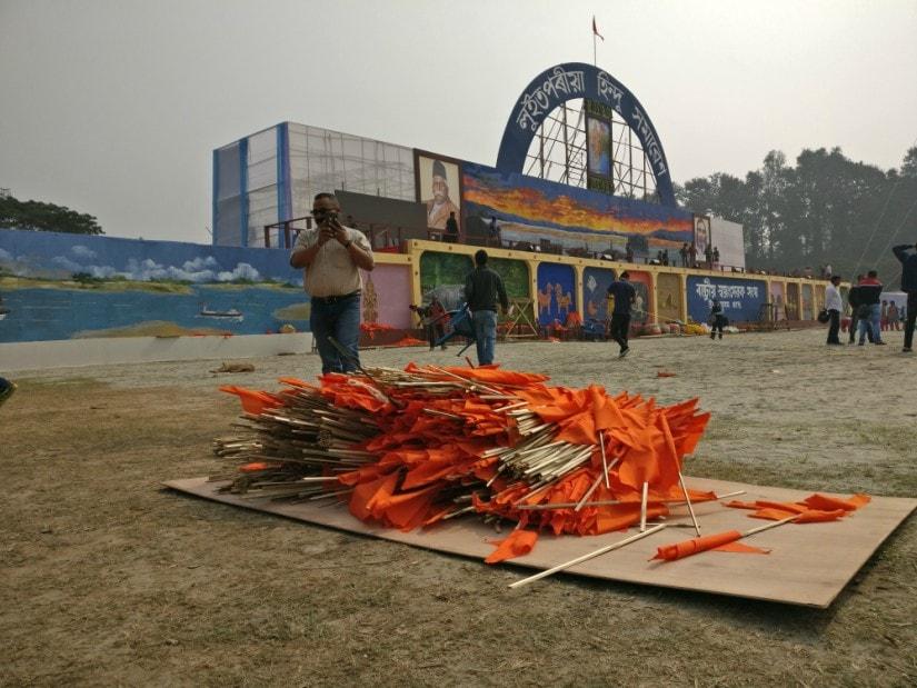 Saffron flags to be hoisted across the venue on Saturday. Firstpost/Rishiraj Bhagawati
