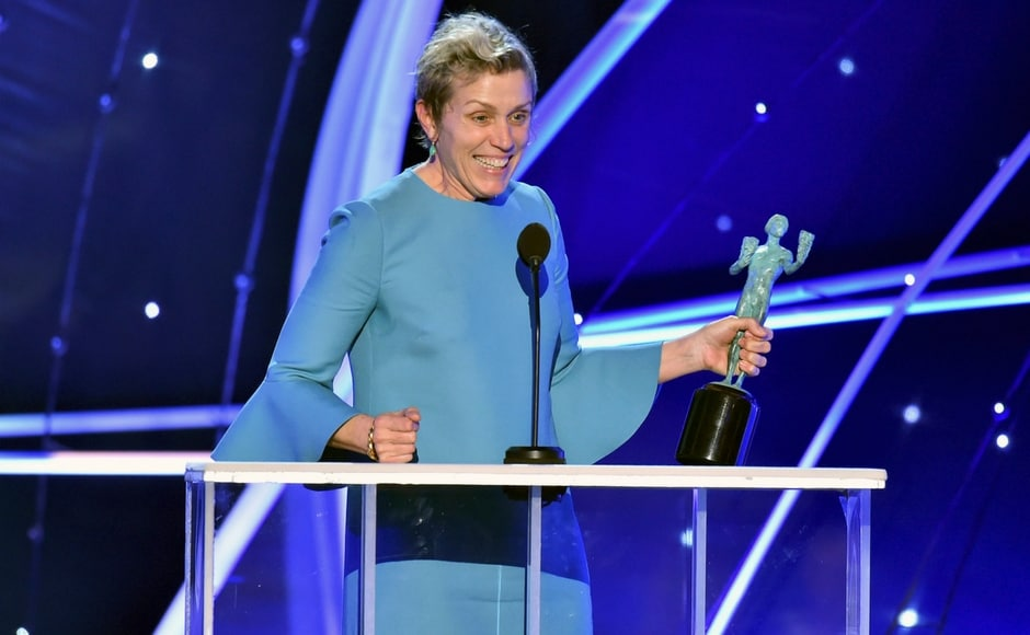 Frances McDormand accepts the award for best female actor in a leading role for Three Billboards Outside Ebbing, Missouri at the 24th annual Screen Actors Guild Awards. AP/Vince Bucci