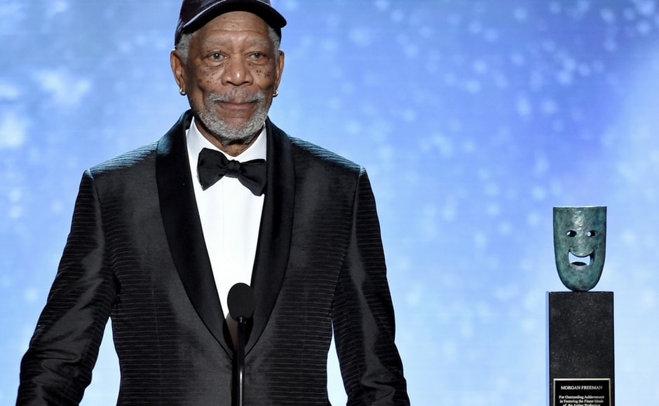 Morgan Freeman accepts the Life Achievement Award at the 24th annual Screen Actors Guild Awards. AP/Vince Bucci