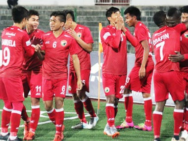 Shillong Lajong players celebrate after scoring against Indian Arrows. Image Courtesy: Twitter @ILeagueOfficial