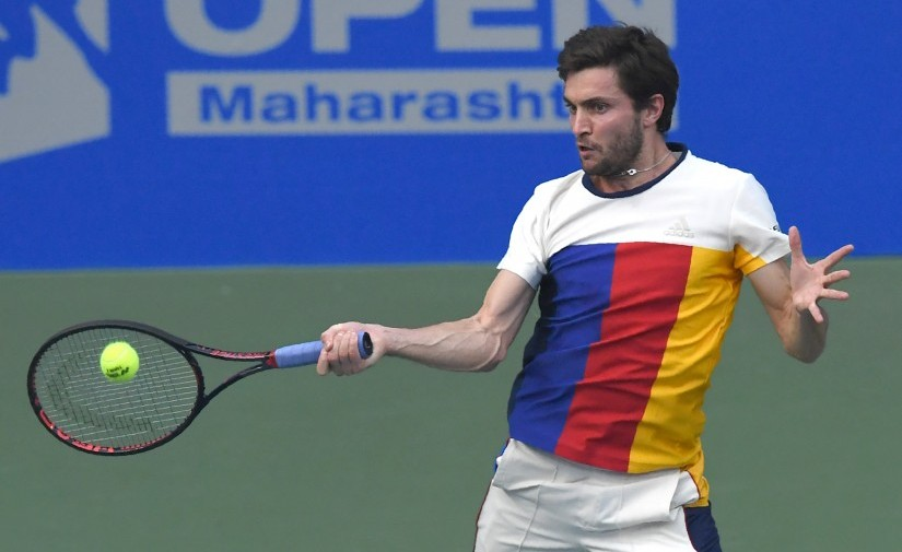 Gilles Simon plays a shot against Marin Cilic during the first semi-final of the Maharashtra Open. AFP