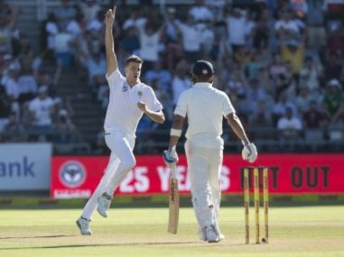 South African bowler Morne Morkle celebrates the wicket of Virat Kohli in the first Test. AP