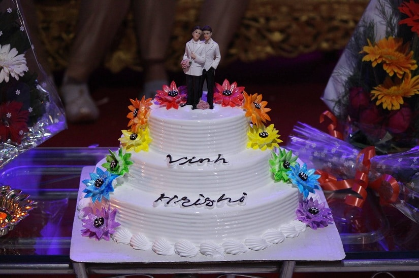 The couple's wedding cake