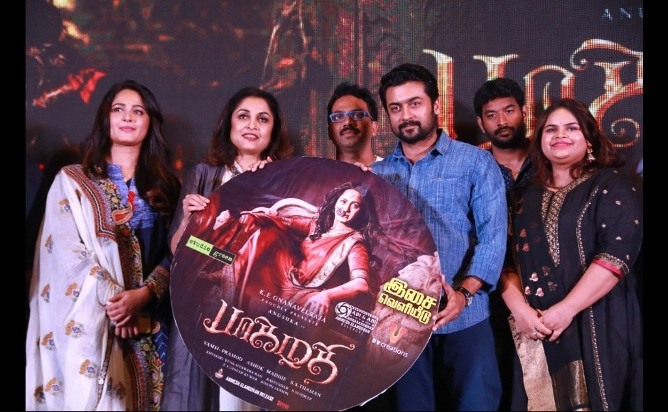 Anushka Shetty and Suriya were both present at the audio launch of their upcoming Telugu and Tamil historical thriller