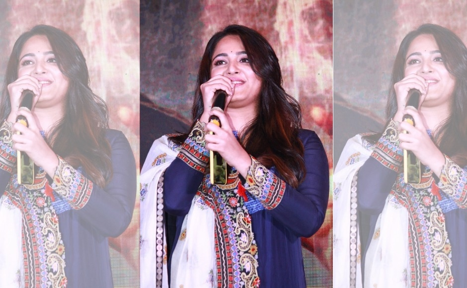 Anushka Shetty addresses the press at the audio launch of her upcoming film Bhaagamathie.