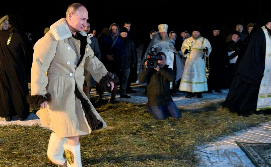 The Russian president, Vladimir Putin joined pilgrims to take the icy dip and known to have become a frequent attendee of Russian Orthodox ceremonies. AP