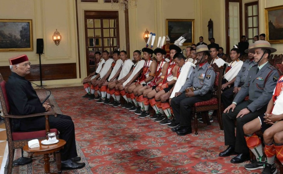 President Kovind met with the people of Thurutsuswumi village, Nagaland, who are on a National Integration Tour organised by the Indian Army, at Rashtrapati Bhavan on Army Day. Twitter@rashtrapatibhvn