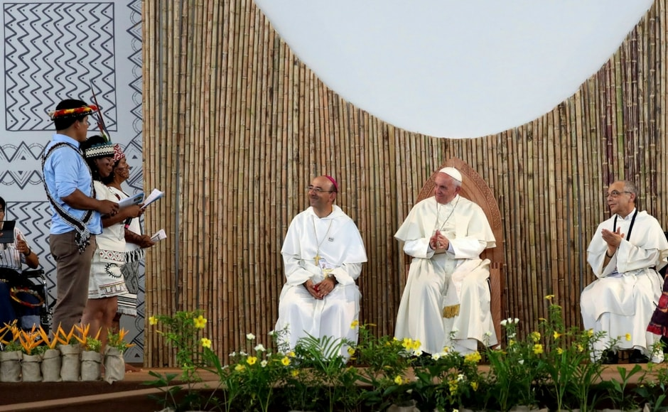 Francis, who has made the environment and climate change a focus of his nearly five-year-old pontificate, made his appeal while visiting a corner of the Amazon where pristine rainforest and biodiversity is being blighted by mining and logging. AP