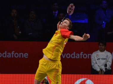 Bengaluru Blasters' Viktor Axelsen in action during the side's tie against Mumbai Rockets. Image courtesy: Twitter @PBLIndiaLive