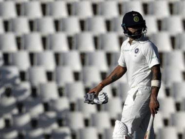 Virat Kohli leaves the field after being dismissed by South Africa's Lungi Ngidi on the fourth day of the second Test. AP
