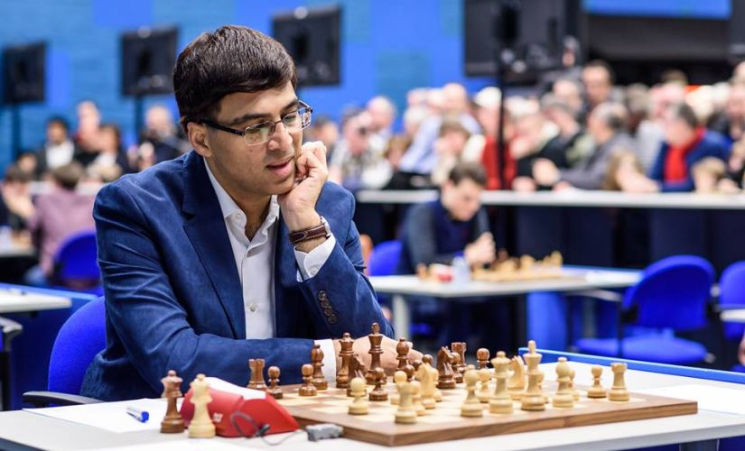 Viswanathan Anand went for a quick draw against Peter Svidler in round 8. Image Courtesy: Alina L'ami