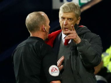 Premier League: Arsenal boss Arsene Wenger called referee Mike Dean a disgrace after controversial West Brom penalty