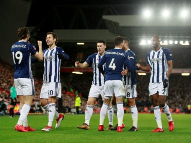 West Bromwich Albion's Jay Rodriguez celebrates scoring their second goal with teammates. Reuters
