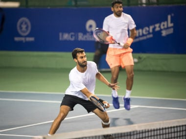 India's Yuki Bhambri and Divij Sharan in action.