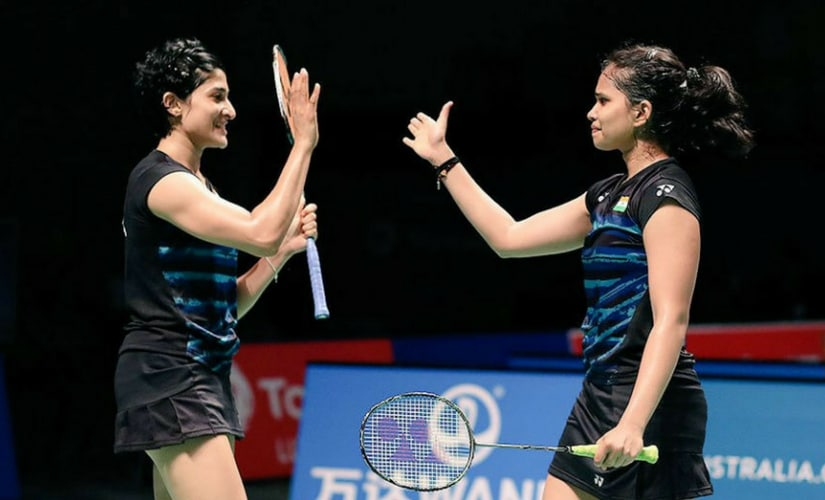 Ashwini Ponnappa and Sikki Reddy in action. Twitter: @sikkireddy