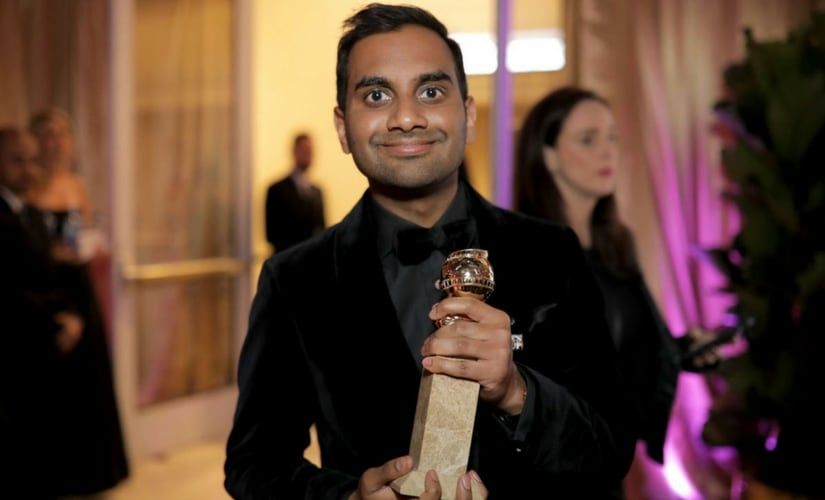 Aziz Ansari after winning the Golden Globe/Image from Twitter.